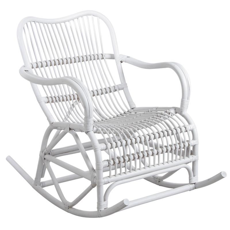 rocking chair en rotin laqu blanc mro1160 aubry gaspard. Black Bedroom Furniture Sets. Home Design Ideas