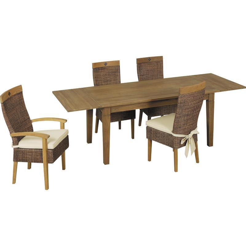 Table en teck ciré avec 2 extensions