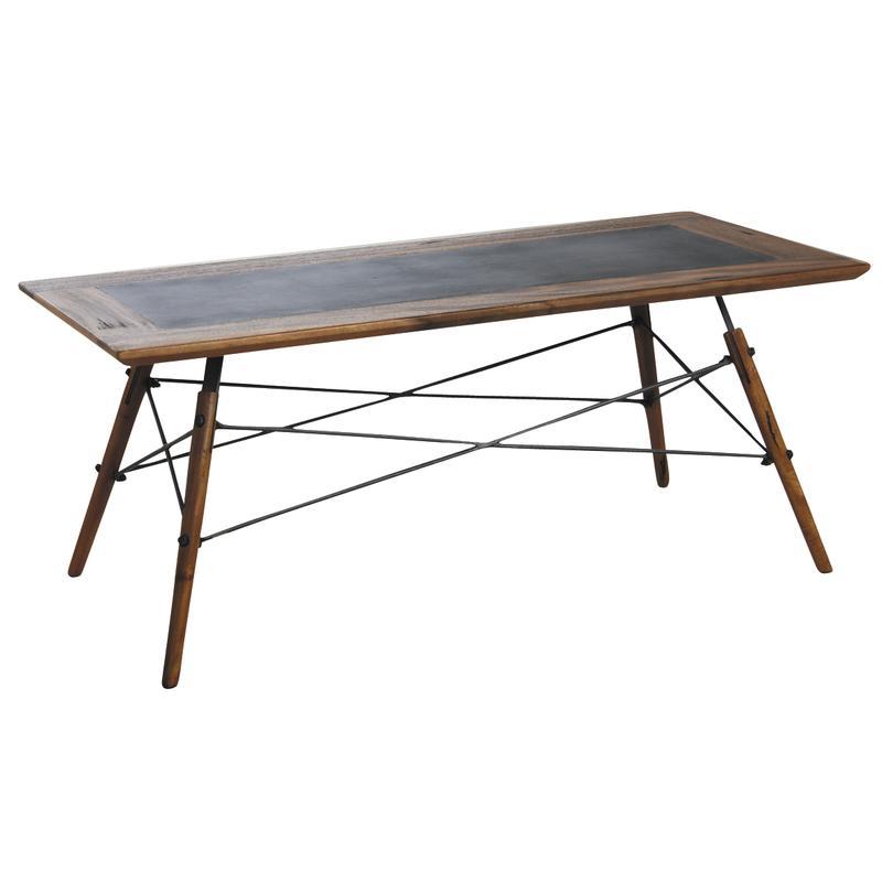 Table Basse Alice En Bois De Suar Massif Et Metal Mtb1330