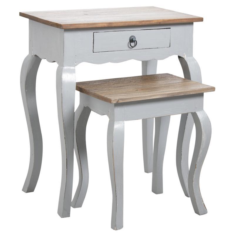 tables gigognes en bois gris antique mtn114s aubry gaspard. Black Bedroom Furniture Sets. Home Design Ideas