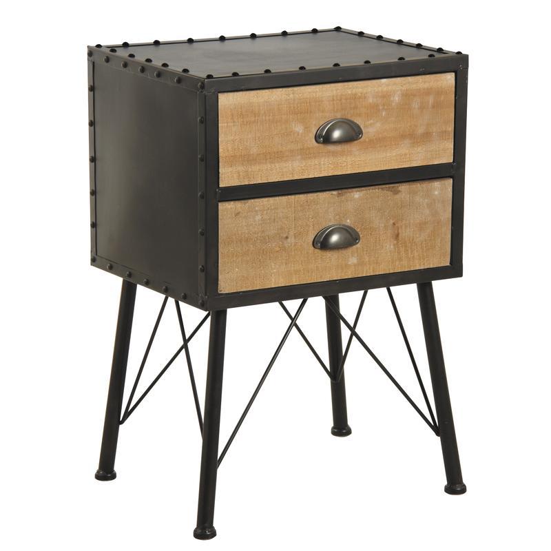 table de nuit en bois et m tal mtn1180 aubry gaspard. Black Bedroom Furniture Sets. Home Design Ideas
