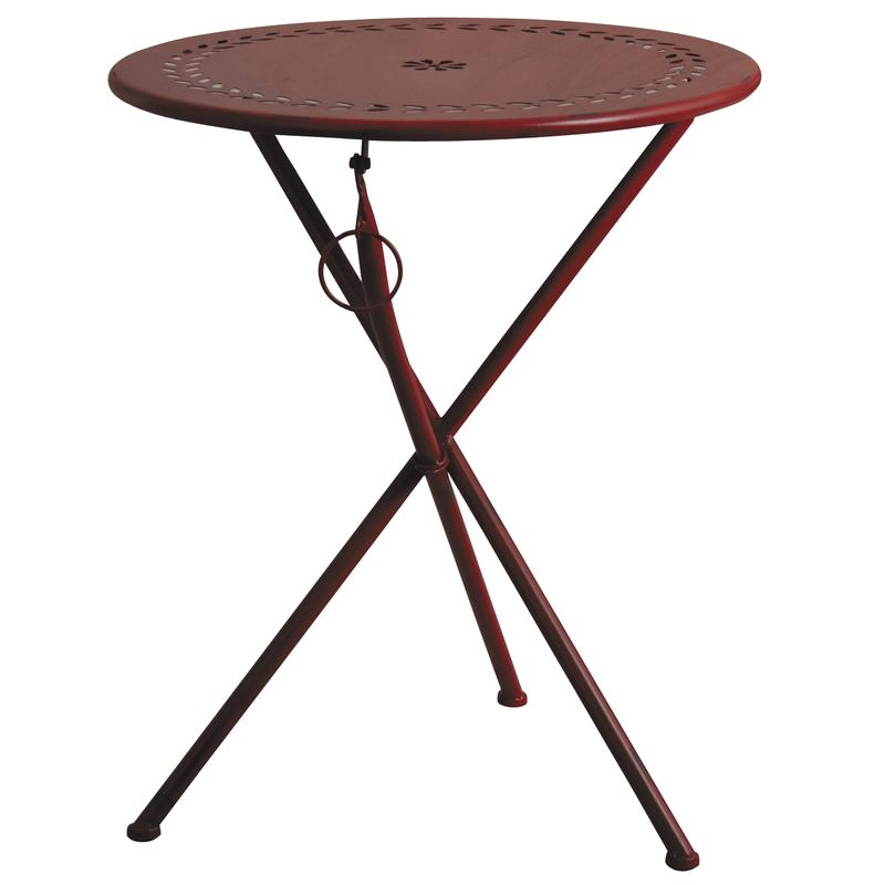 Table de terrasse pliante en m tal rouge mtt1252 aubry gaspard for Table de terrasse pliante