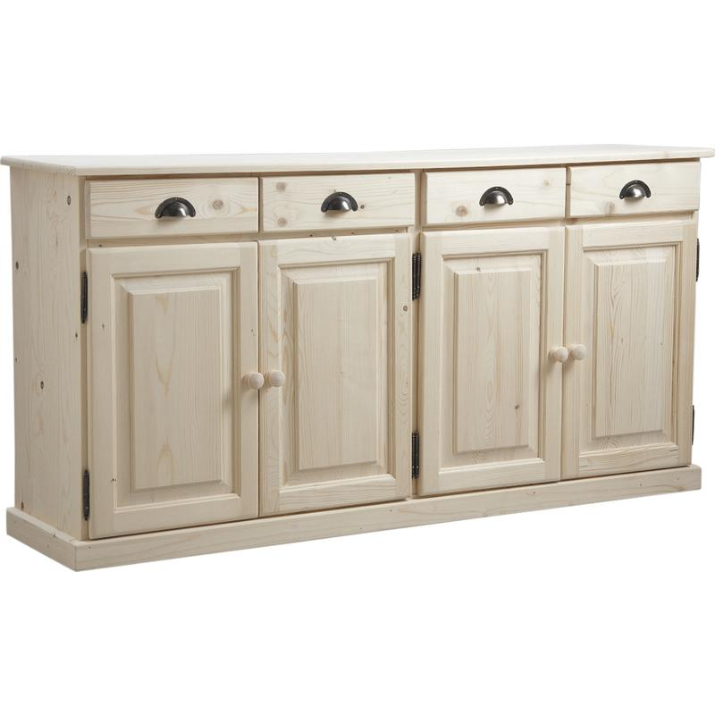 buffet en bois brut 4 portes 4 tiroirs ncm2740 aubry. Black Bedroom Furniture Sets. Home Design Ideas