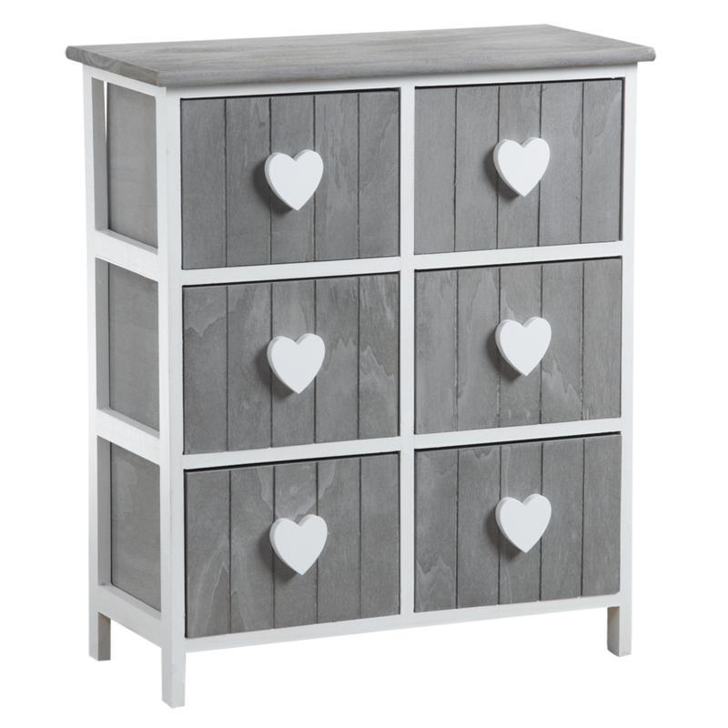 commode 6 tiroirs avec coeurs ncm2850 aubry gaspard. Black Bedroom Furniture Sets. Home Design Ideas