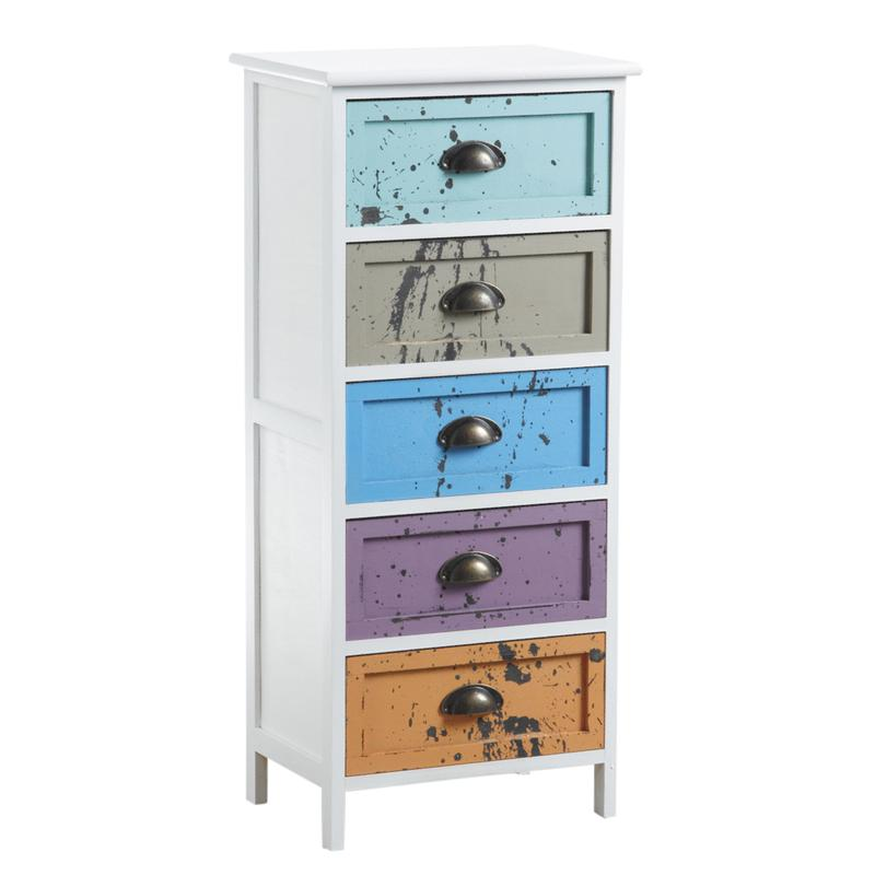 commode 5 tiroirs multicolores ncm2860 aubry gaspard. Black Bedroom Furniture Sets. Home Design Ideas