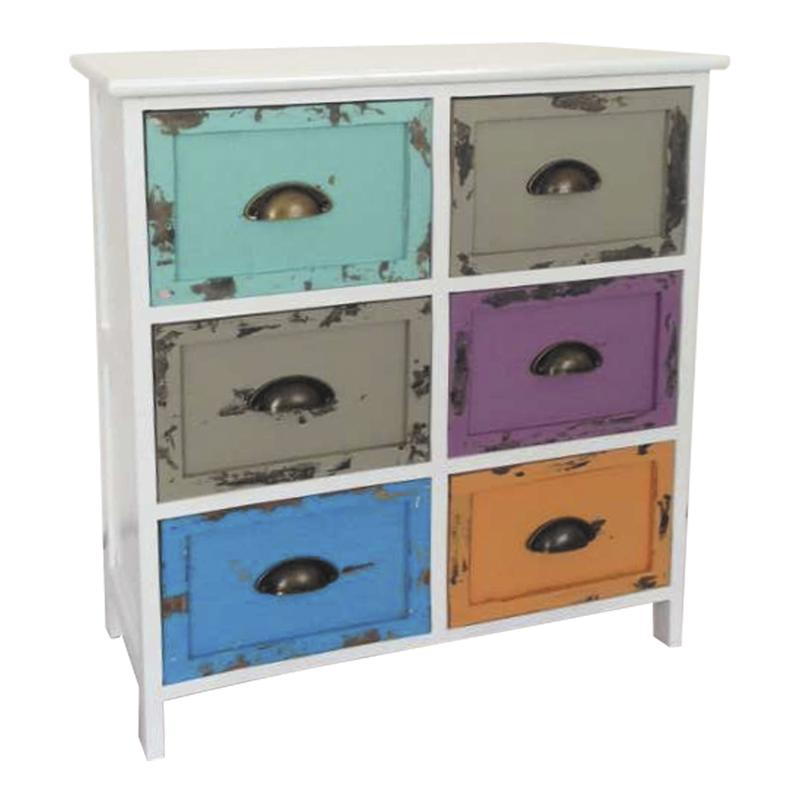 Commode 6 tiroirs multicolores - Commode tiroirs multicolores ...
