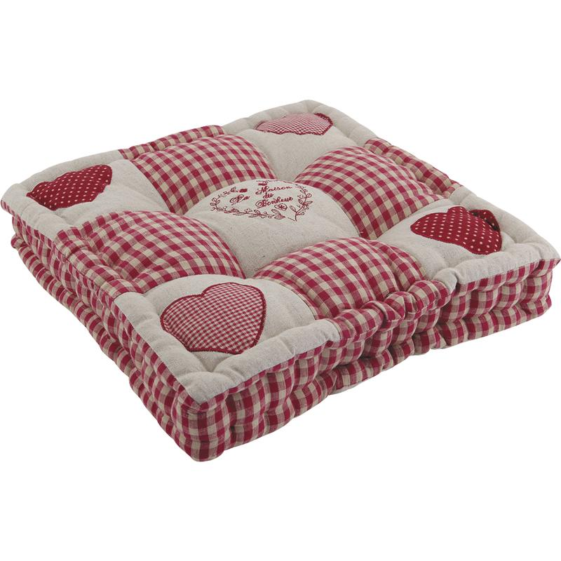 coussin rouge motifs coeurs nco1430 aubry gaspard. Black Bedroom Furniture Sets. Home Design Ideas