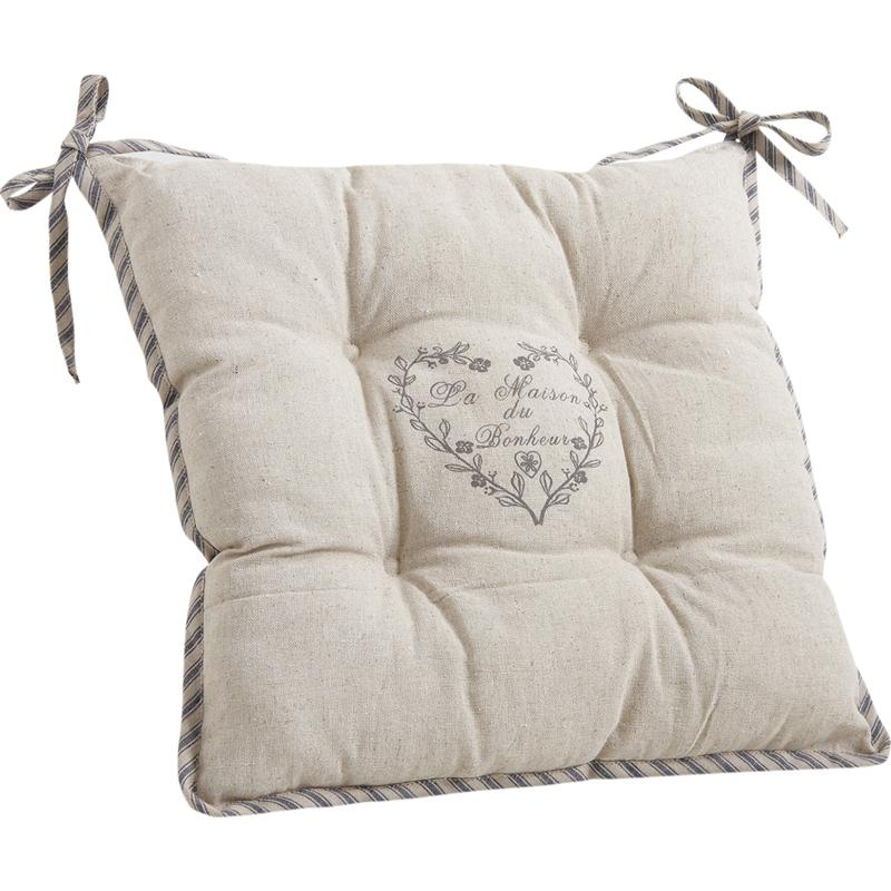 coussin de chaise avec coeur gris nco1700 aubry gaspard. Black Bedroom Furniture Sets. Home Design Ideas