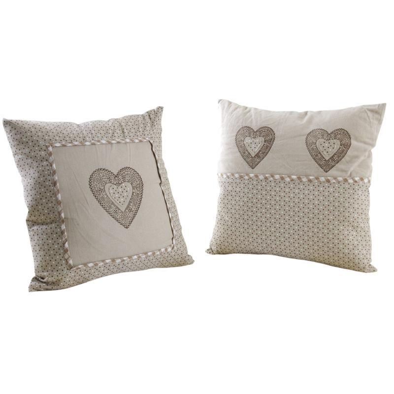 Coussin coeur en coton et lin