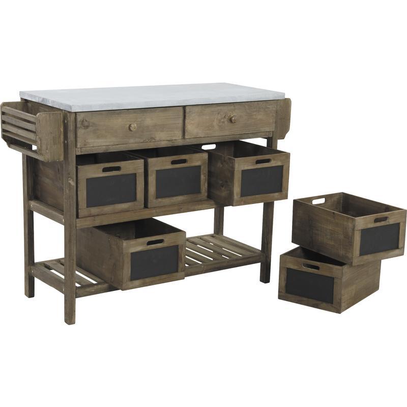 console en bois vieilli et zinc ncs1040 aubry gaspard. Black Bedroom Furniture Sets. Home Design Ideas