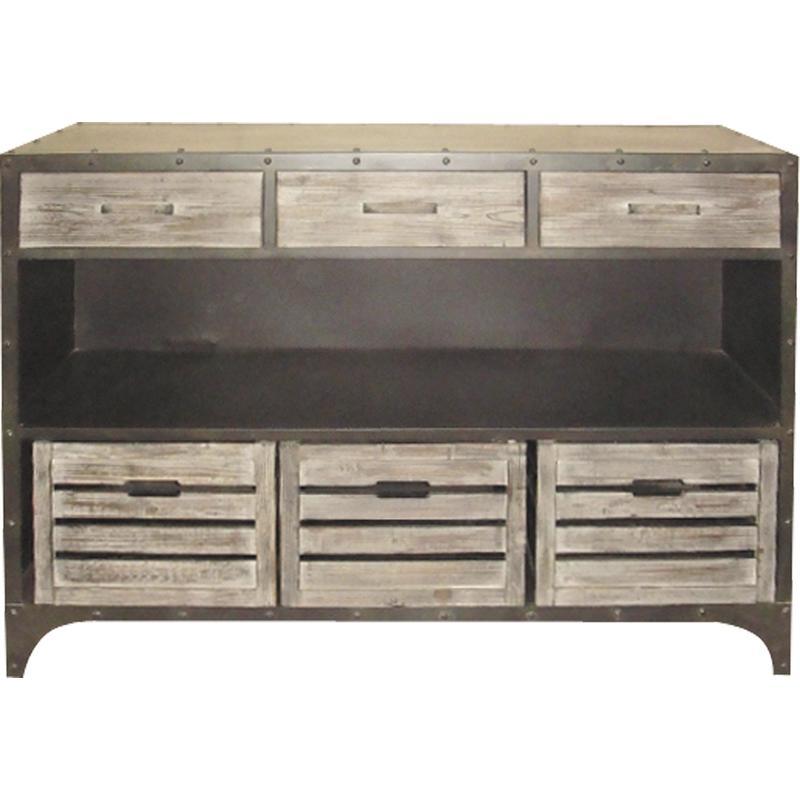 console en m tal et bois ncs1120 aubry gaspard. Black Bedroom Furniture Sets. Home Design Ideas