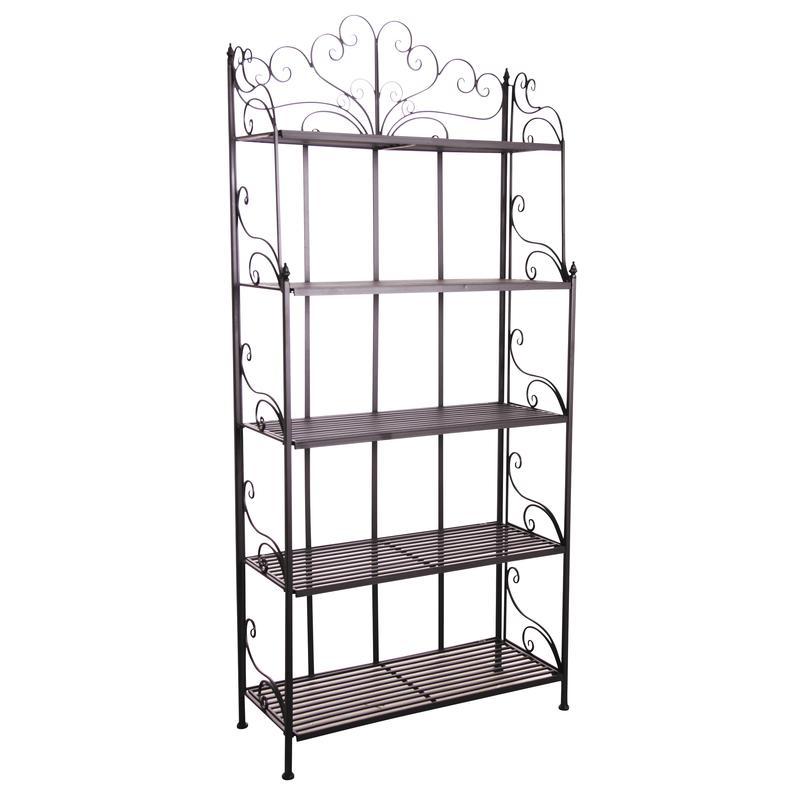 etag re pliante en m tal laqu noir 5 tablettes net2330. Black Bedroom Furniture Sets. Home Design Ideas