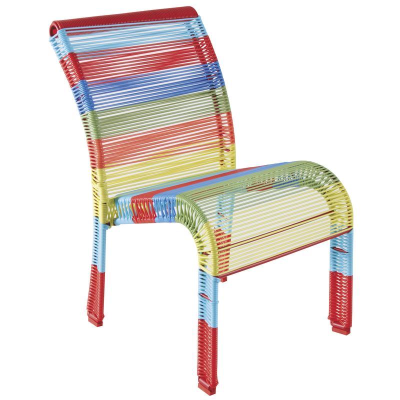 Chaise enfant en polyr sine et m tal laqu multicolore for Chaise multicolore