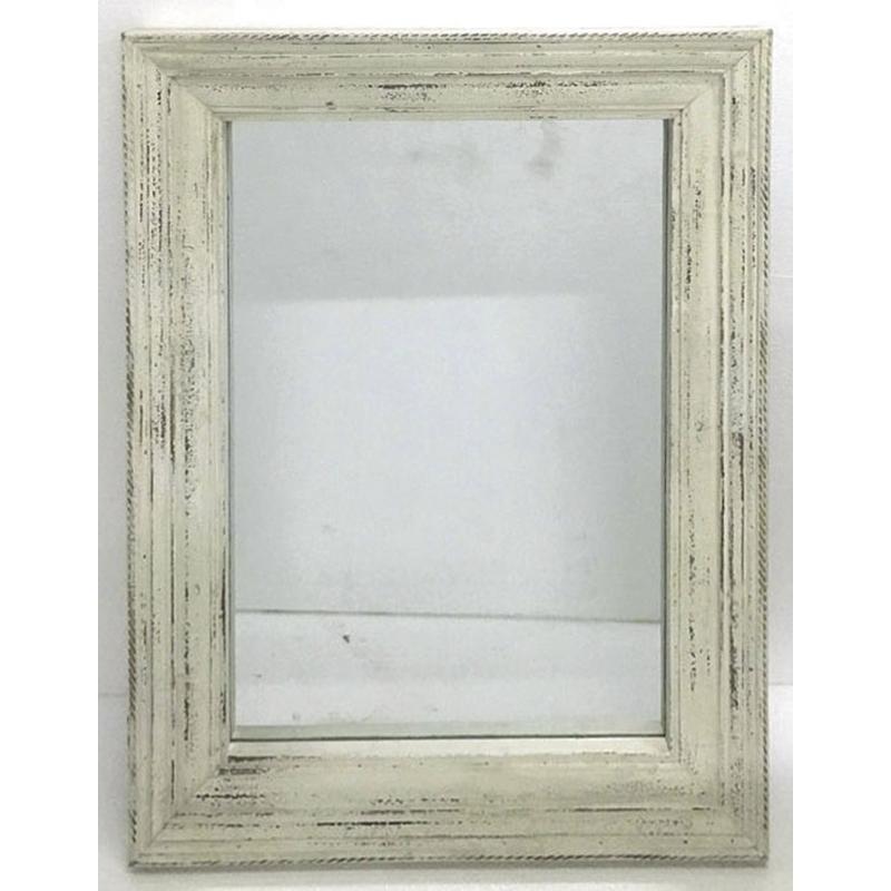 Miroir en bois blanc vieilli nmi1320v aubry gaspard for Miroir rotin blanc