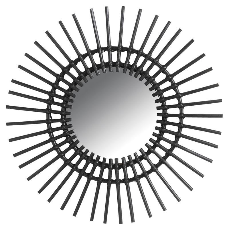 Miroir soleil en rotin noir nmi1450v aubry gaspard for Miroir soleil rotin
