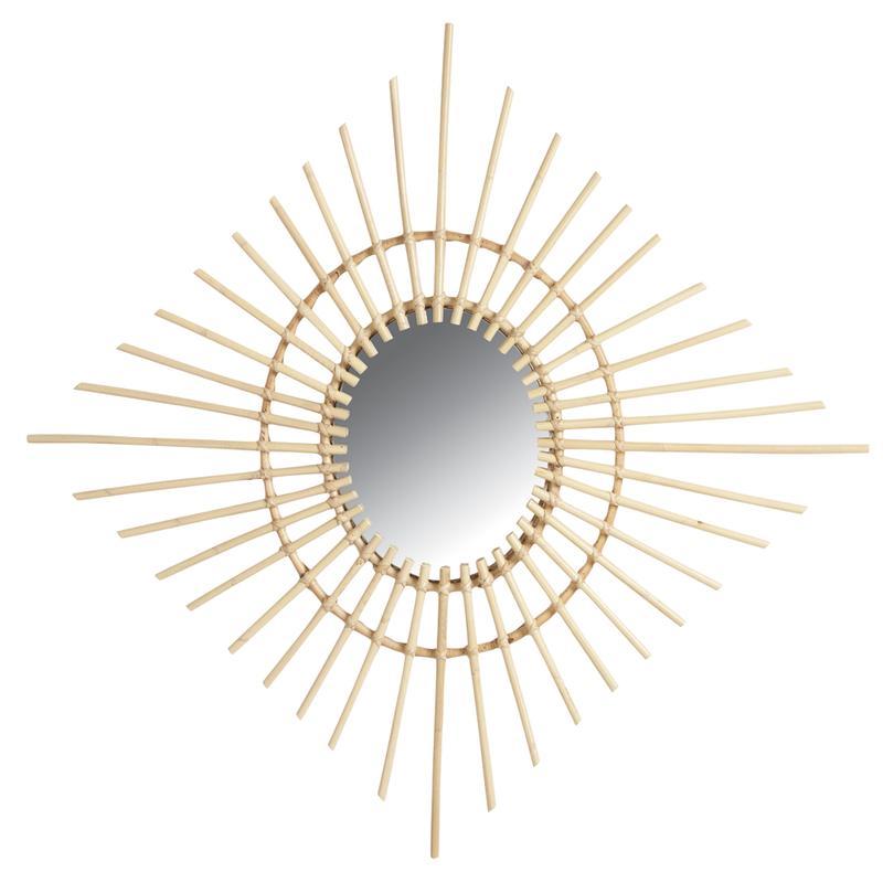 Miroir losange en rotin nmi1500v aubry gaspard for Miroir losange