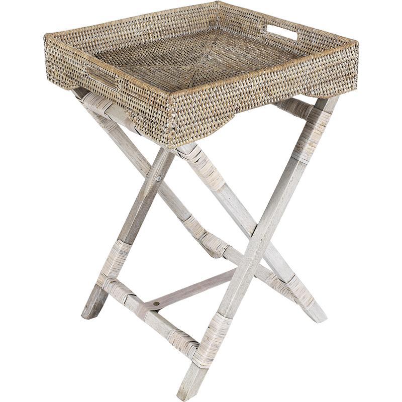 plateau sur pied en rotin npl1050 aubry gaspard. Black Bedroom Furniture Sets. Home Design Ideas