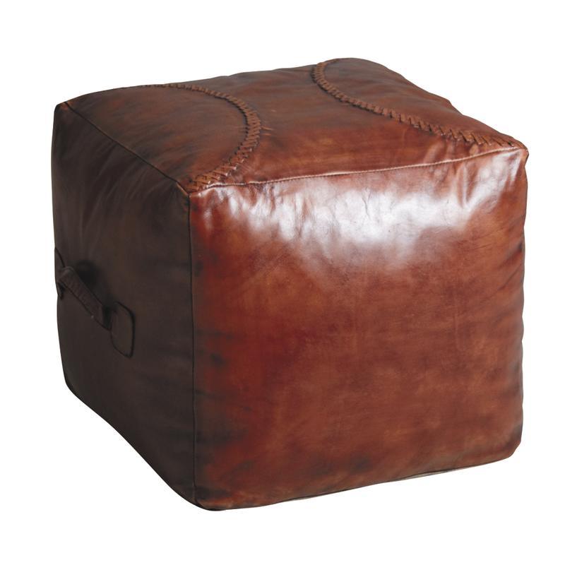 pouf carr en cuir marron npo1290c aubry gaspard. Black Bedroom Furniture Sets. Home Design Ideas