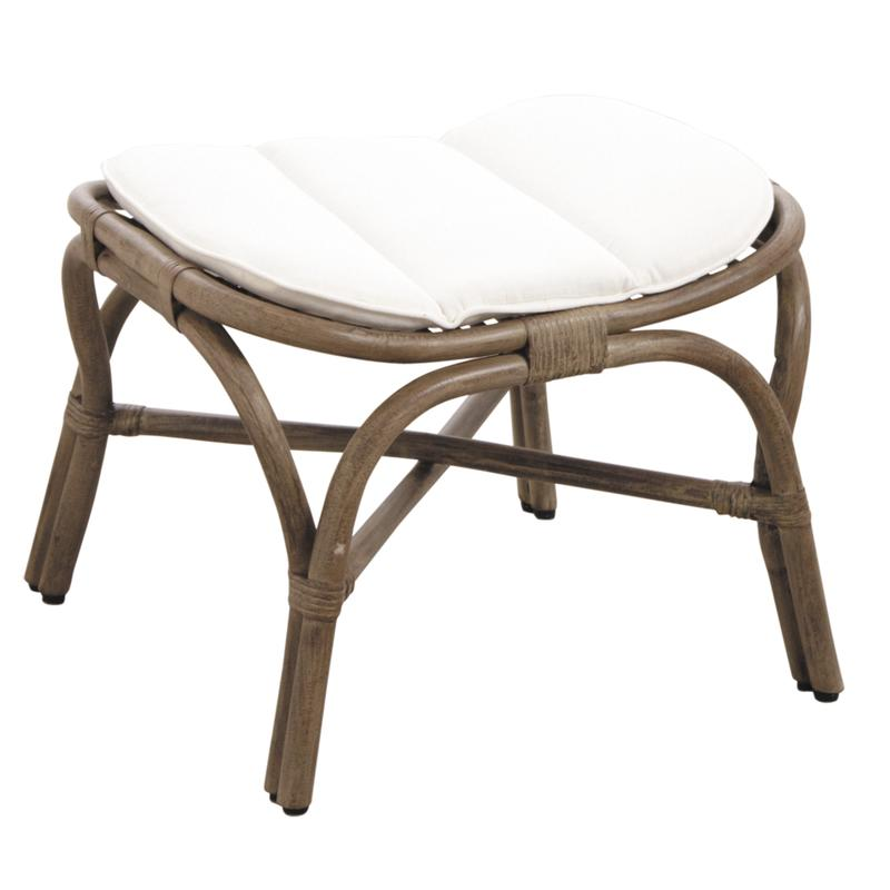pouf en rotin gris vintage npo1350c aubry gaspard. Black Bedroom Furniture Sets. Home Design Ideas