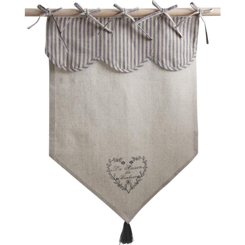 Rideau motif coeur gris nri1860 aubry gaspard for Petit rideau gris