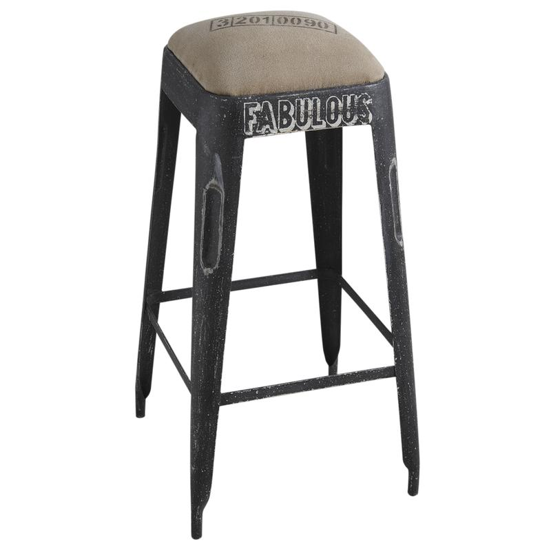 tabouret de bar en m tal noir vieilli ntb1580c aubry gaspard. Black Bedroom Furniture Sets. Home Design Ideas