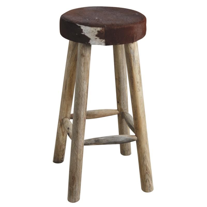 tabouret de bar en peau de vache et bois ntb1660c aubry gaspard. Black Bedroom Furniture Sets. Home Design Ideas