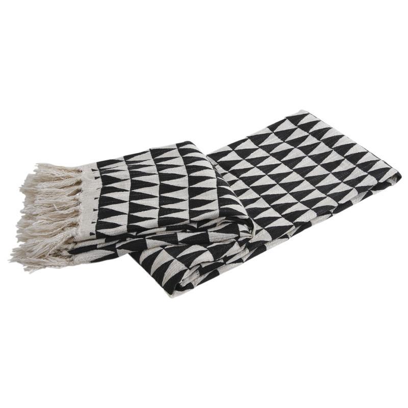plaid en coton noir et blanc triangles ntx1100c aubry. Black Bedroom Furniture Sets. Home Design Ideas