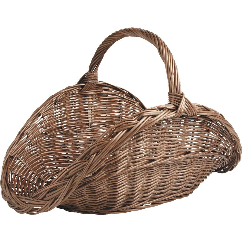 Willow log basket with handle