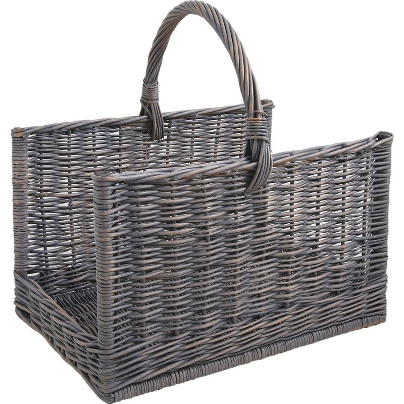 Grey willow log basket with handle
