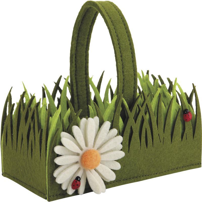 panier en feutrine avec motif fleur pcf1860 aubry gaspard. Black Bedroom Furniture Sets. Home Design Ideas