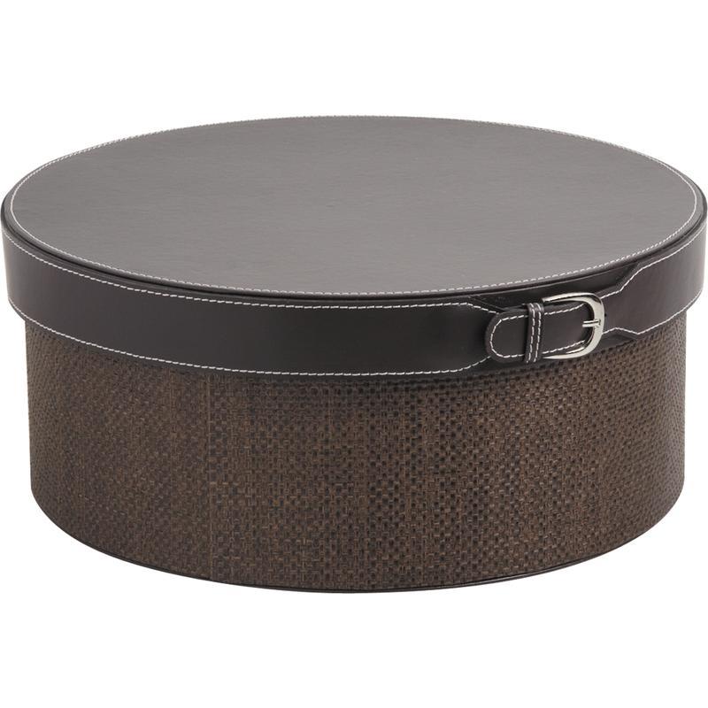 boite ronde en simili cuir marron vbt2241 aubry gaspard. Black Bedroom Furniture Sets. Home Design Ideas