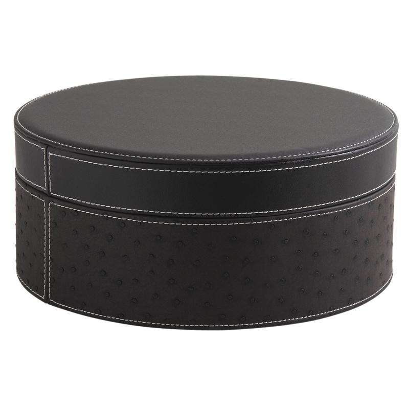 boites rondes en simili autruche vbt254s aubry gaspard. Black Bedroom Furniture Sets. Home Design Ideas