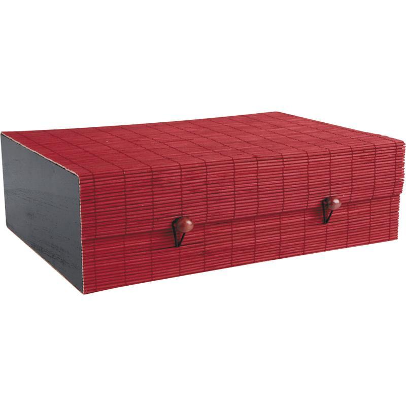 Coffret en bambou teinté rouge et bois