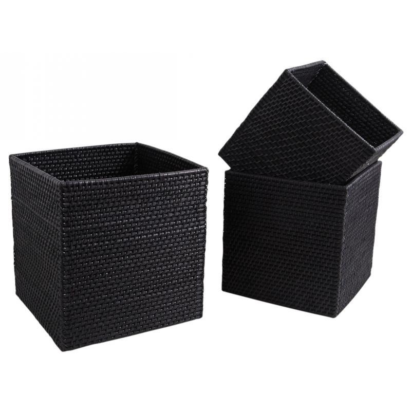 cache pot en rotin noir jcp312s aubry gaspard. Black Bedroom Furniture Sets. Home Design Ideas