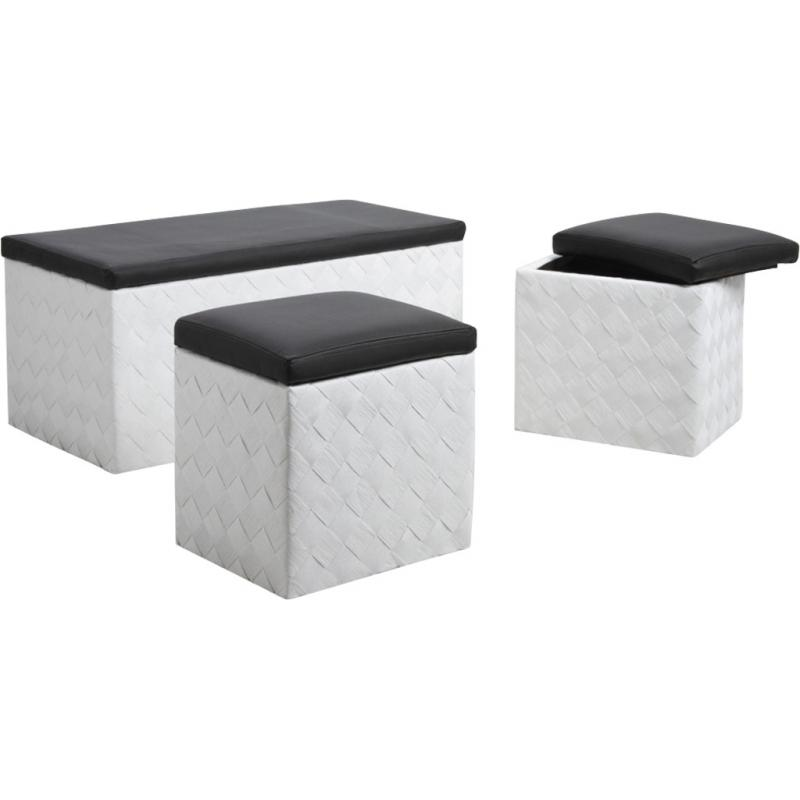 coffres poufs en corde et simili cuir kpo121sc aubry gaspard. Black Bedroom Furniture Sets. Home Design Ideas