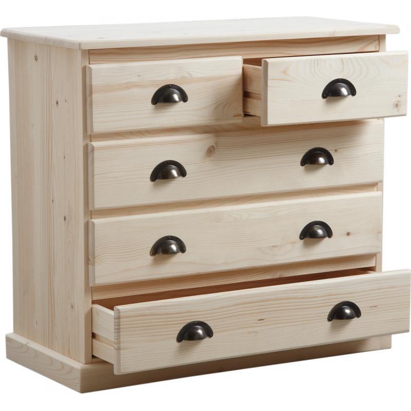 commode 5 tiroirs en bois brut ncm2610 aubry gaspard. Black Bedroom Furniture Sets. Home Design Ideas