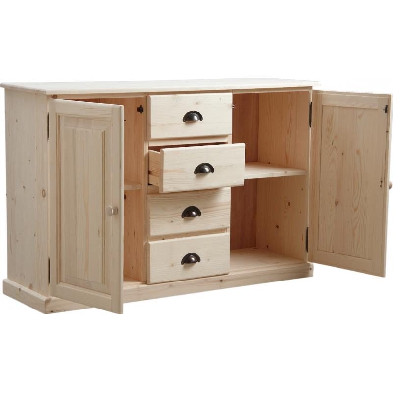 buffet en bois brut 2 portes 4 tiroirs ncm2700 aubry gaspard. Black Bedroom Furniture Sets. Home Design Ideas