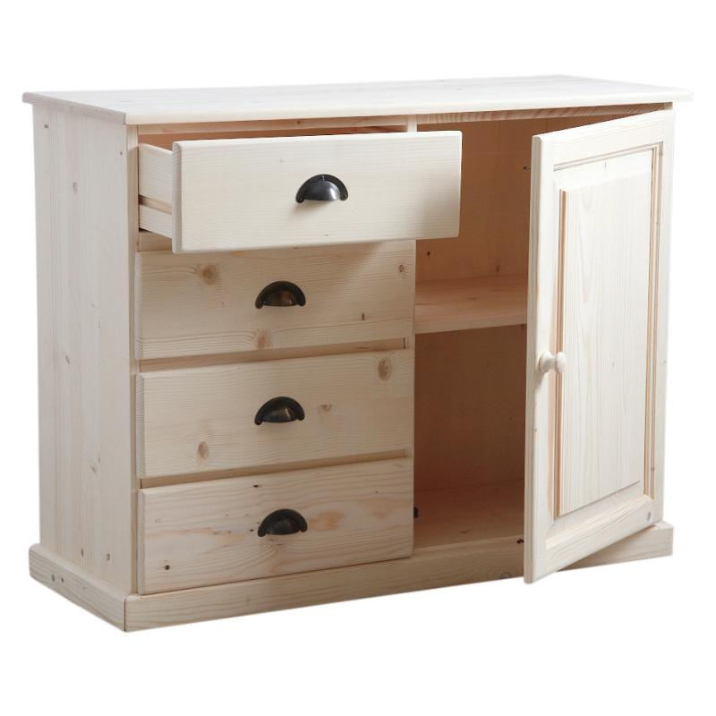buffet en bois brut 4 tiroirs 1 porte ncm2720 aubry gaspard. Black Bedroom Furniture Sets. Home Design Ideas