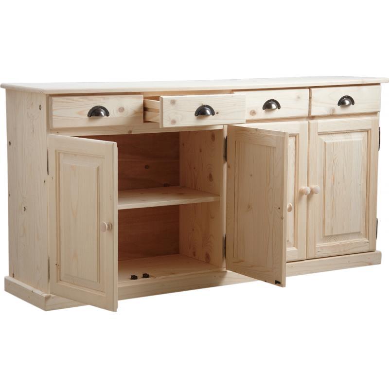 buffet en bois brut 4 portes 4 tiroirs ncm2740 aubry gaspard. Black Bedroom Furniture Sets. Home Design Ideas