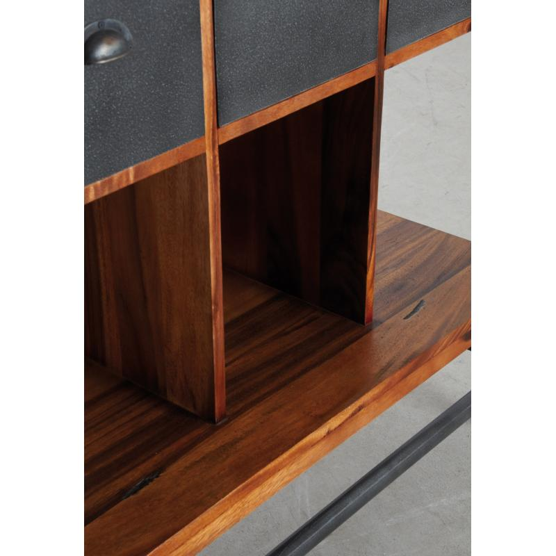 biblioth que alice en bois de suar massif et m tal. Black Bedroom Furniture Sets. Home Design Ideas