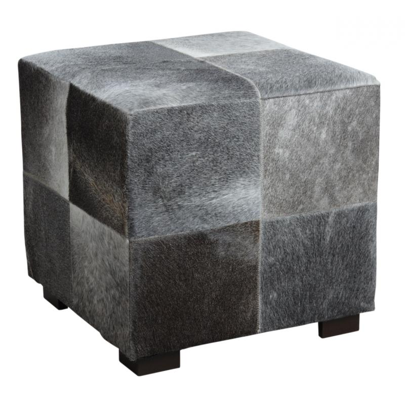 pouf carr en peau de vache gris npo1300c aubry gaspard. Black Bedroom Furniture Sets. Home Design Ideas