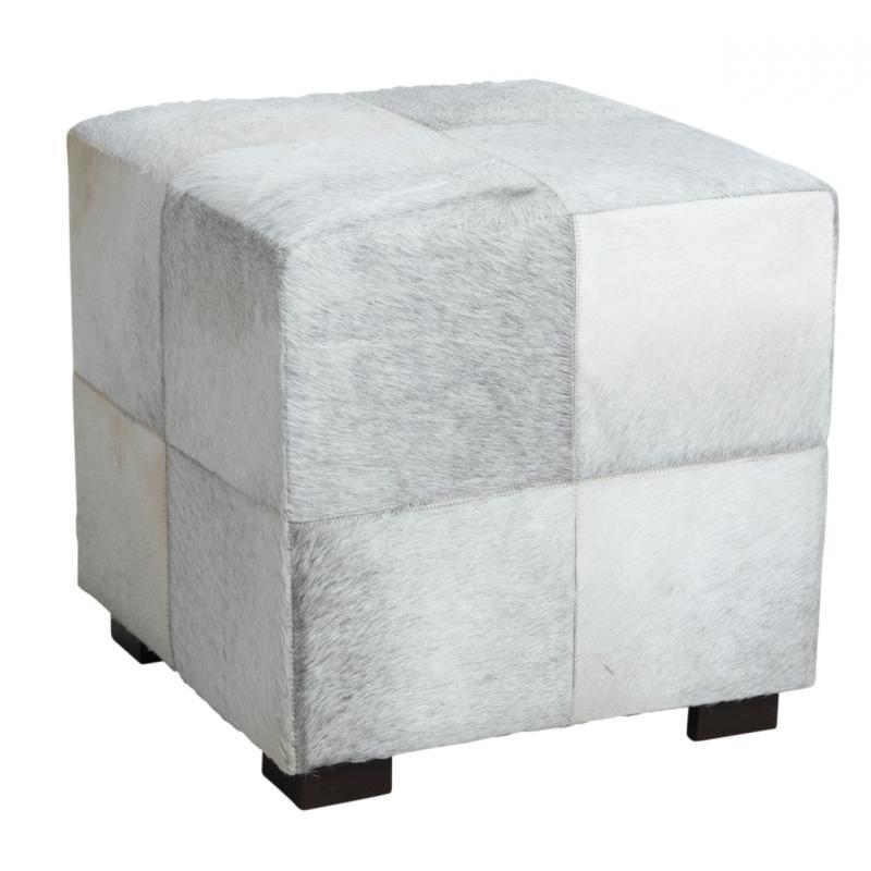 pouf carr en peau de vache gris npo1300c aubry gaspard. Black Bedroom Furniture Sets. Home Design Ideas