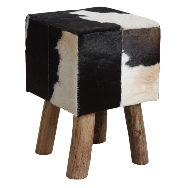 tabouret carr en peau de vache ntb1630c aubry gaspard. Black Bedroom Furniture Sets. Home Design Ideas