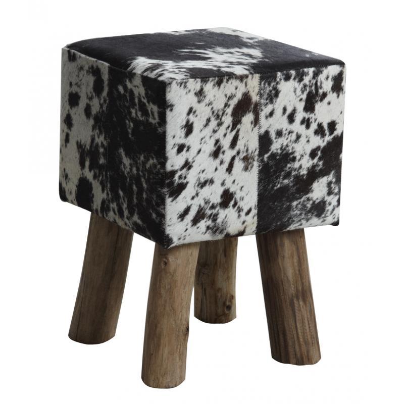 tabouret carr en peau de vache ntb1630c aubry gaspard. Black Bedroom Furniture Sets. Home Design Ideas