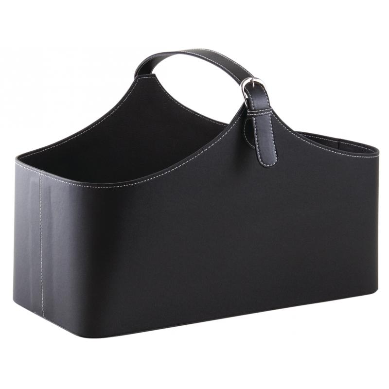Black imitation leather basket